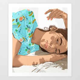 Feel the Sun from Both Sides, Summer Bohemian Woman Illustration, Vibrant Colorful Portrait Painting Art Print