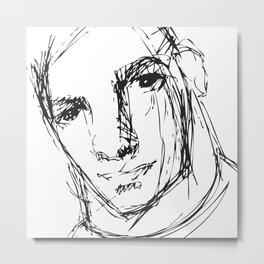 Face Sketch, digital illustration based on my original sketch Metal Print