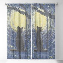 starry cat night Sheer Curtain
