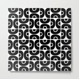 Groovy Mid Century Modern Pattern Black and White Metal Print
