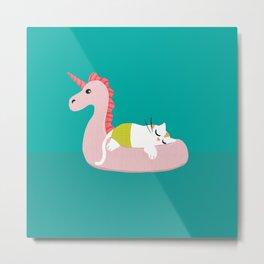 Cat & Unicorn Inflatable Summer Metal Print