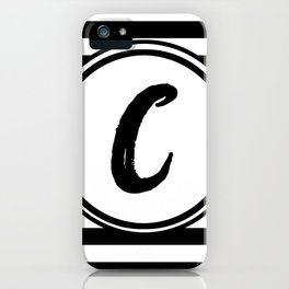 C Striped Monogram Letter iPhone Case