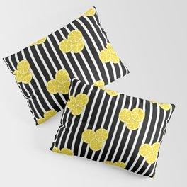 Lemon Slices on Black and White Stripes Pillow Sham