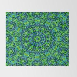 Green-black-blue kaleidoscope Throw Blanket