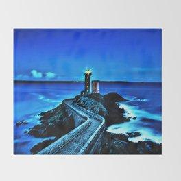 Plouzane Lighthouse, France Landscape by Jeanpaul Ferro Throw Blanket