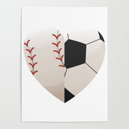 Soccer Baseball Heart Mom - Mothers Day Gifts Poster
