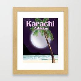 Karachi Pakistan beach poster. Framed Art Print