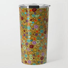 Playful Watercolor dots pattern - Gold Travel Mug