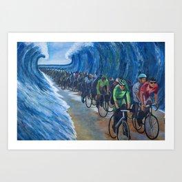 Biking Through the Red Sea Art Print