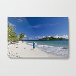 Woman in Blue on Sandy Beach Metal Print