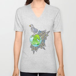 """Happy Alien Earth Bird (from the book, """"You, the Magician"""") Unisex V-Neck"""