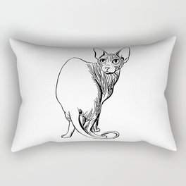 Sphynx Cat Illustration - Sphynx - Cat Drawing - Naked Cat - Wrinkly Cat - Black and White Rectangular Pillow