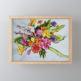 Colorful Flowers Palette Knife Painting, Floral Painting, Modern Painting, Abstract Flowers, Vintage Framed Mini Art Print