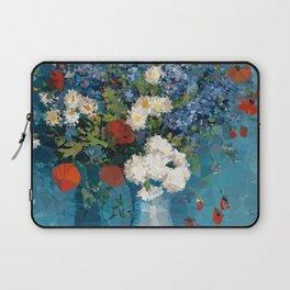 Van Gogh Poppies Cornflowers Blue Vase Low Poly Laptop Sleeve