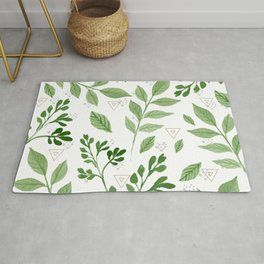 Plants with triangles Rug