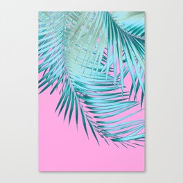 Palm Leaves Pink Blue Vibes #1 #tropical #decor #art #society6 Canvas Print