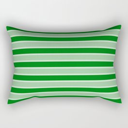 Large Horizontal Christmas Holly and Ivy Green Velvet Bed Stripes Rectangular Pillow
