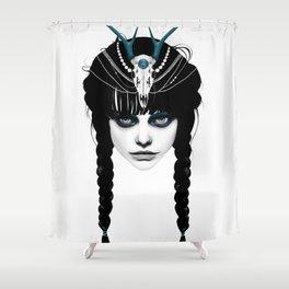 Wakeful Warrior - In Blue Shower Curtain
