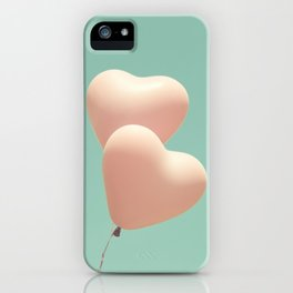 Perfect Love, Pink heart balloons on soft blue sky iPhone Case