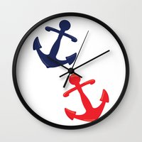 anchors Wall Clocks featuring Anchors by Indulge My Heart