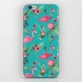 Santa Flamingo Christmas, Holiday Tropical Watercolor iPhone Skin