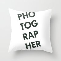 photographer Throw Pillows featuring Photographer by Rothko