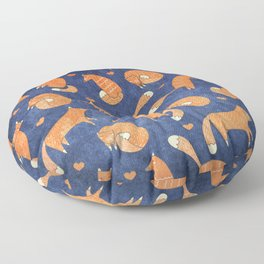 Foxes at Night - Cute Fox Pattern Floor Pillow