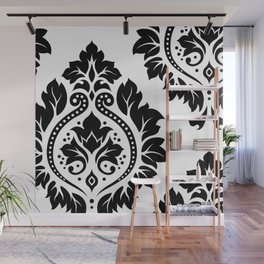 Decorative Damask Art I Black on White Wall Mural