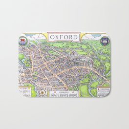 OXFORD university map ENGLAND dorm decor Bath Mat