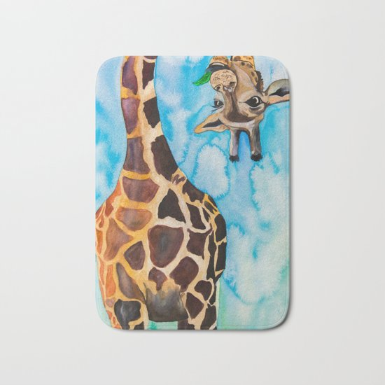 friendly giraffe Bath Mat
