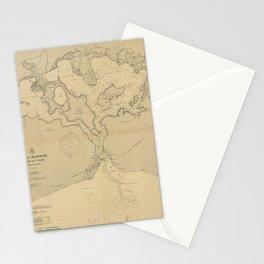 Vintage Map of Pearl Harbor HI (1907) Stationery Cards