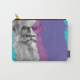 Leo Tolstoy portrait blue and purple Carry-All Pouch