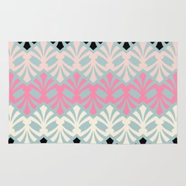 Decorative Plumes - Pink Cream Black on Green Rug