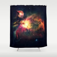 nebula Shower Curtains featuring Orion NEbula Dark & Colorful by 2sweet4words Designs