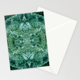Abstract Kaleidoscope Green Mineral Crystal Texture Stationery Cards