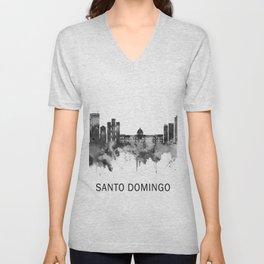 Santo Domingo Dominican Republic Skyline BW Unisex V-Neck