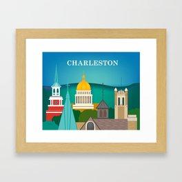 Charleston, West Virginia - Skyline Illustration by Loose Petals Framed Art Print