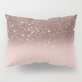 Rose Gold Glitter Ombre Pillow Sham