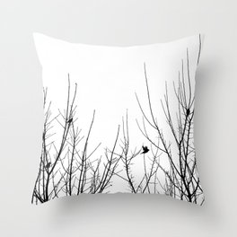 Birds on Branches - black and white bird branch photo minimalist silhouette Throw Pillow