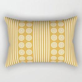 Geometric Golden Yellow & White Vertical Stripes & Circles Rectangular Pillow