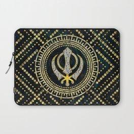 Decorative Khanda symbol with gemstones & gold frame Laptop Sleeve