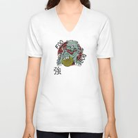 foo fighters V-neck T-shirts featuring Foo Dog by Buby87