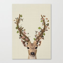 Deer Print, Flower crown, Woodlands Decor, Wall Art, Animals Print, Woodlands Nursery Art Canvas Print
