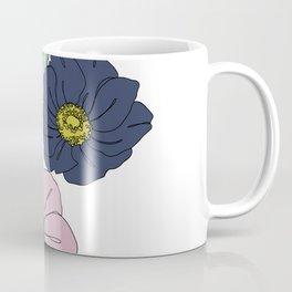 Botanical floral illustration line drawing - Anemone Coffee Mug