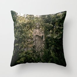 a statue of Throw Pillow