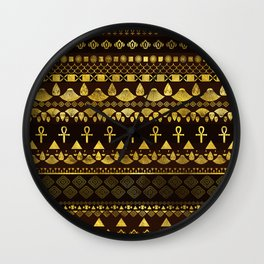 Egyptian Ethnic Pattern gold on rich browns Wall Clock