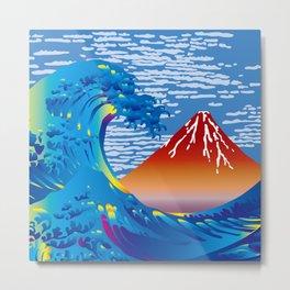 Hokusai Great Wave & Red Fuji Metal Print