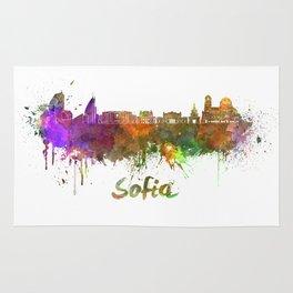 Sofia skyline in watercolor Rug