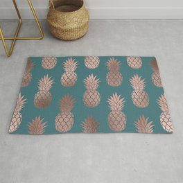 Modern Rose Gold Teal Green Pineapple Pattern Rug