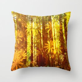 Daisys on Redwoods Throw Pillow